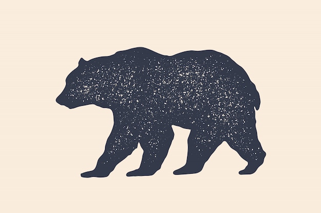 Bear, silhouette. vintage logo, retro print, poster for butchery Premium Vector