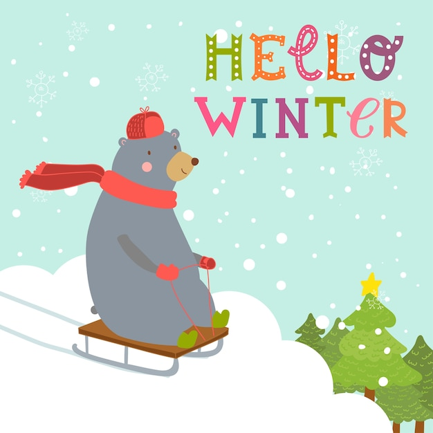 Bear sledding down the hills with trees Premium Vector