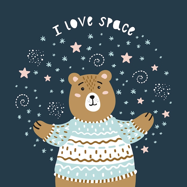 Bear and space. i love space. Premium Vector