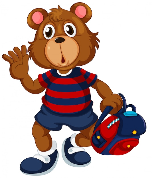 Bear student with backpack Free Vector