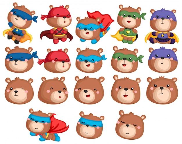 Коллекция bear superhero Premium векторы