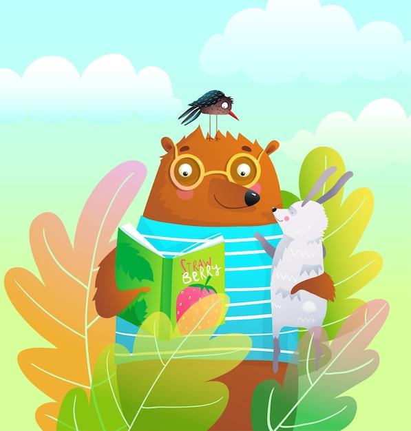 自然の中で本を読んでいるクマのテディとウサギ、カラフルな森の背景漫画。 Premiumベクター