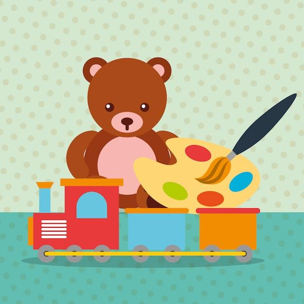 Bear teddy train wagon paint brush color palette toys Premium Vector