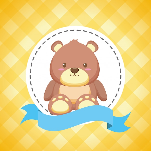 Bear toy for baby shower card Free Vector
