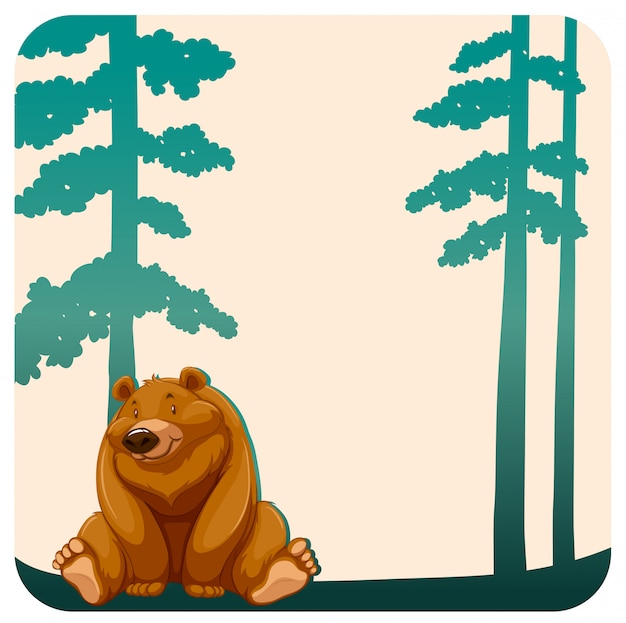Bear and trees Free Vector