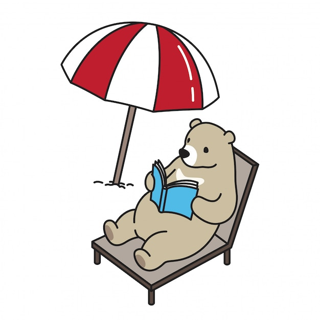 Bear vector polar bear beach bed book cartoon Premium Vector
