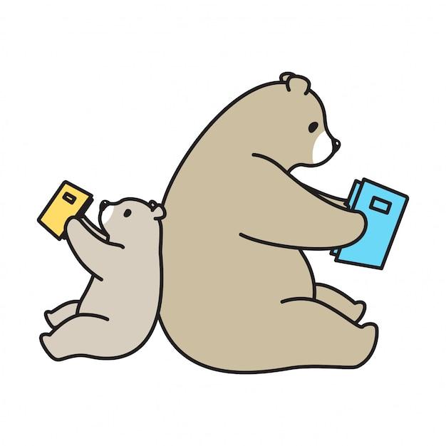 Bear vector polar bear book cartoon Premium Vector