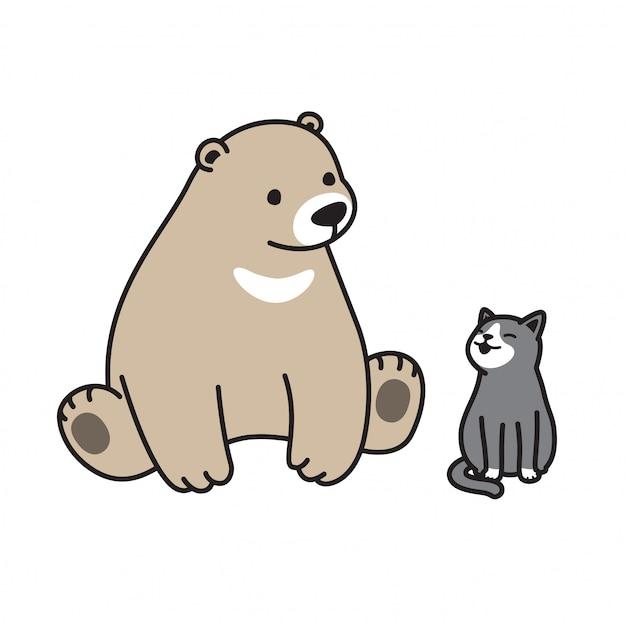 Bear vector polar bear cat kitten cartoon Premium Vector