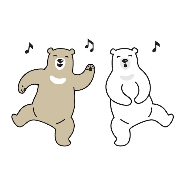 Bear vector polar bear dancing singing music cartoon Premium Vector