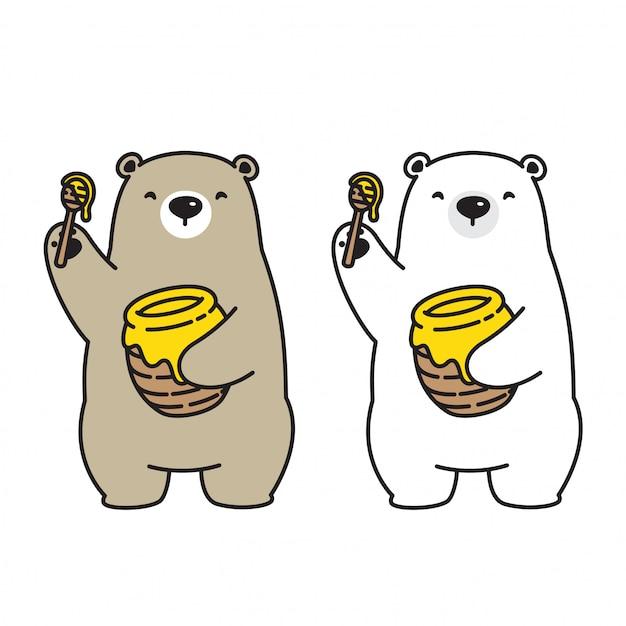 Bear vector polar bear honey bee icon logo cartoon character illustration Premium Vector