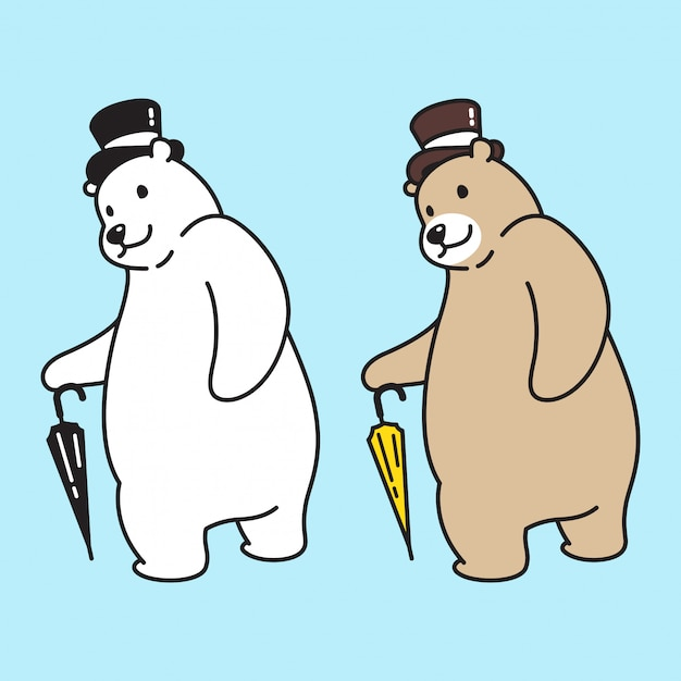Bear vector polar top hat cartoon Premium Vector