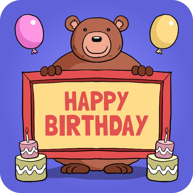 Bear With A Frame Birthday Card Vector Premium Download