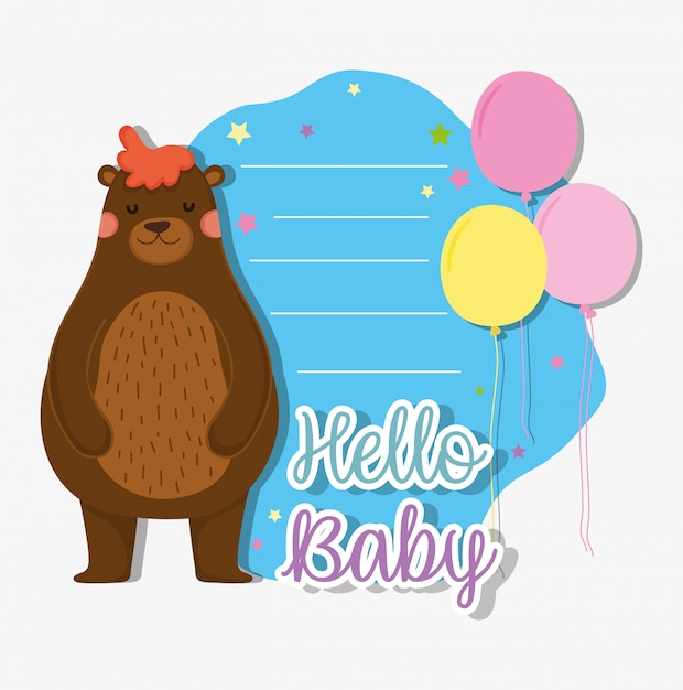 Bear with balloons to baby shower card Premium Vector