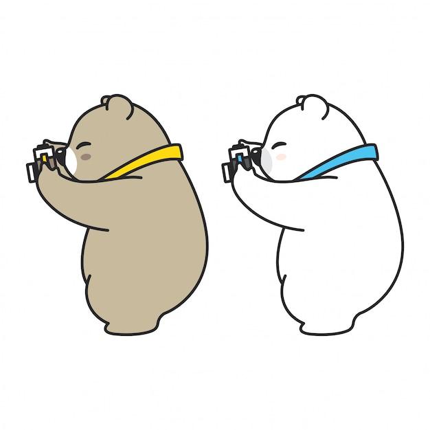 Bear with camera cartoon Premium Vector