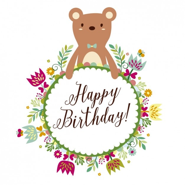 Bear with floral frame birthday card Vector | Free Download