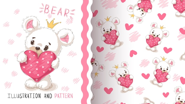 Bear with heart seamless pattern Premium Vector