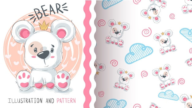Bear with heart - seamless pattern Premium Vector