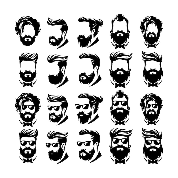 Beard barber logo vector Premium Vector