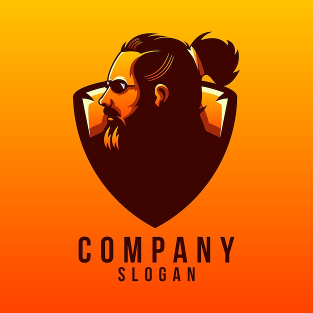 Beard logo design Premium Vector