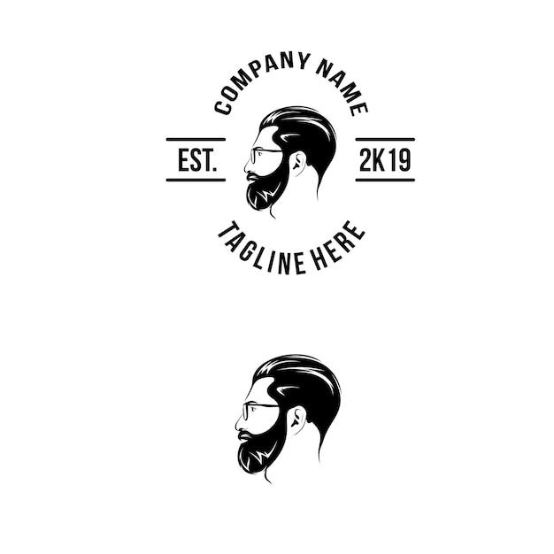 Beard logo from side Premium Vector