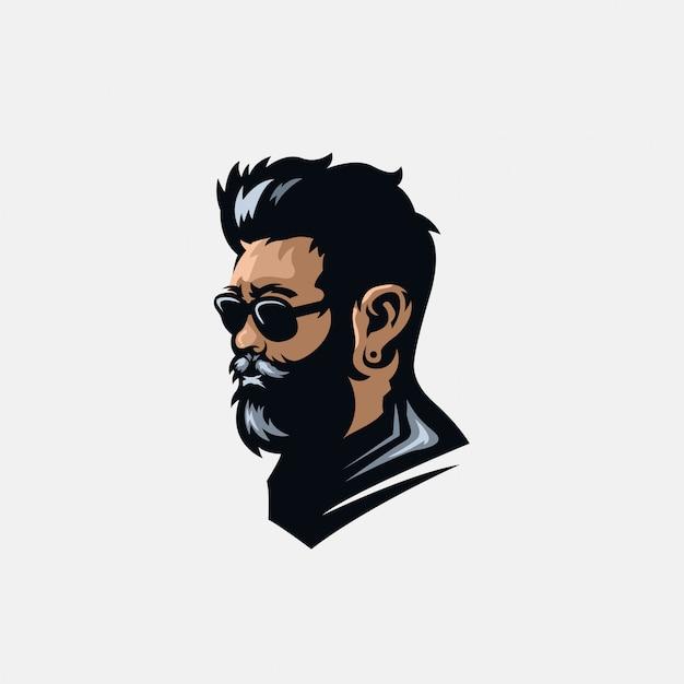 Beard logo  illustration Premium Vector