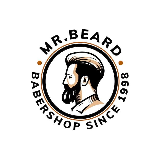 ひげのロゴのテンプレートデザイン Premiumベクター