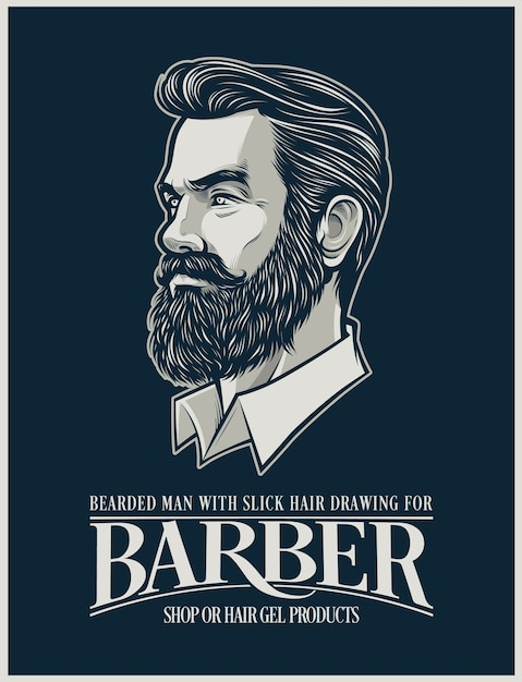 Beard man illustration for hairstyle products and business Premium Vector