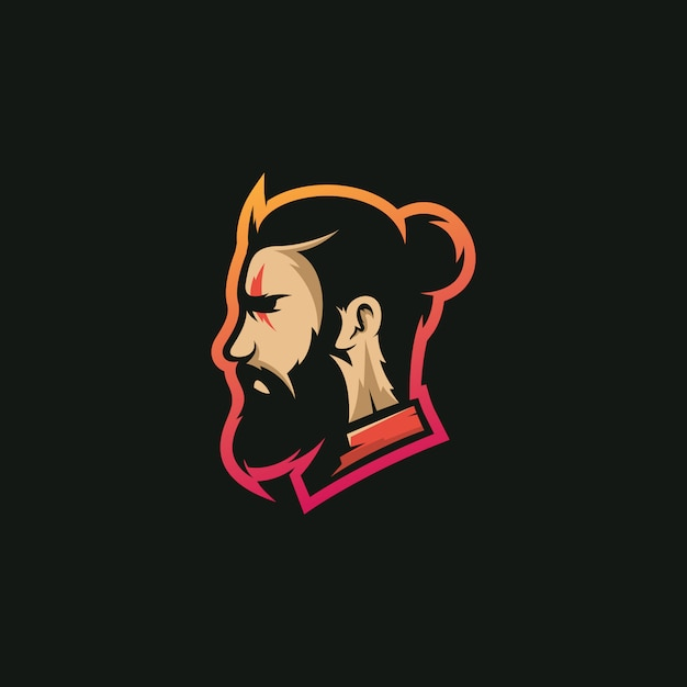 Beard man logo Premium Vector