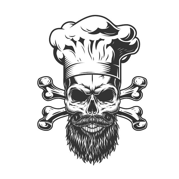 Бородатый и усатый поварской череп Бесплатные векторы