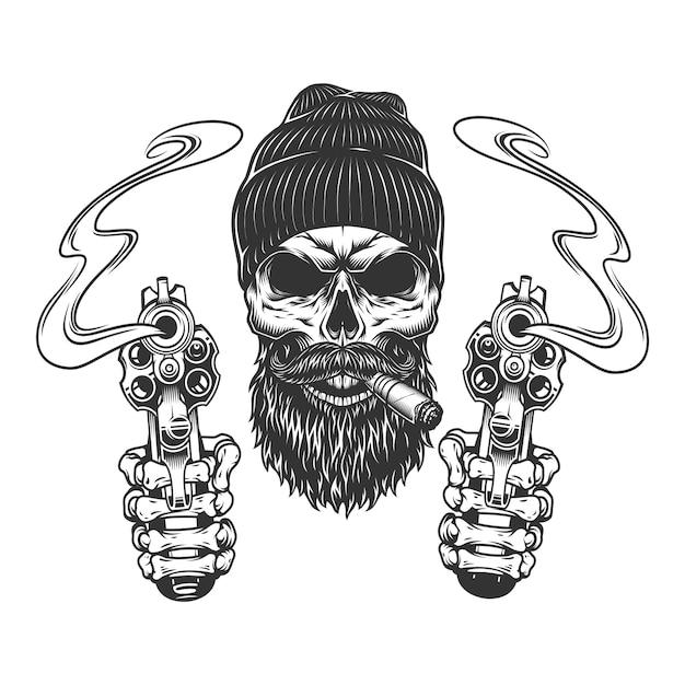 Бородатый и усатый гангстерский череп Бесплатные векторы