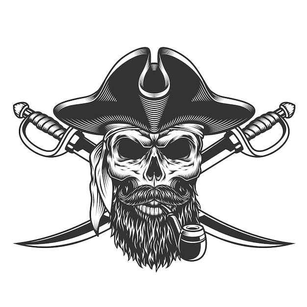 Бородатый и усатый пиратский череп Бесплатные векторы