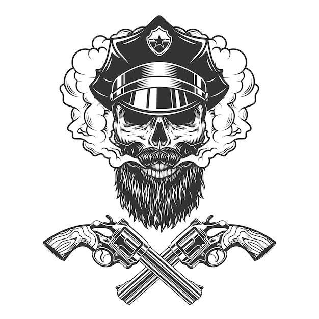 수염과 수염 경찰관 두개골 무료 벡터