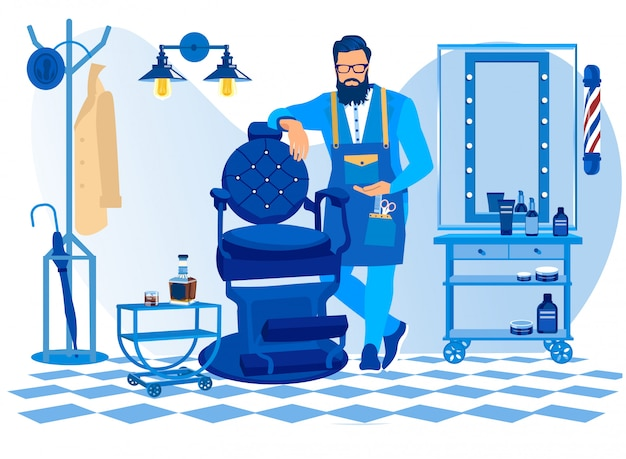 Bearded barber wearing apron with haircut tools Premium Vector