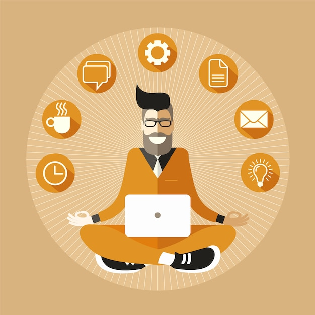 Bearded and bespectacled hipster programmer with a laptop meditating in sukhasana easy pose. Premium Vector