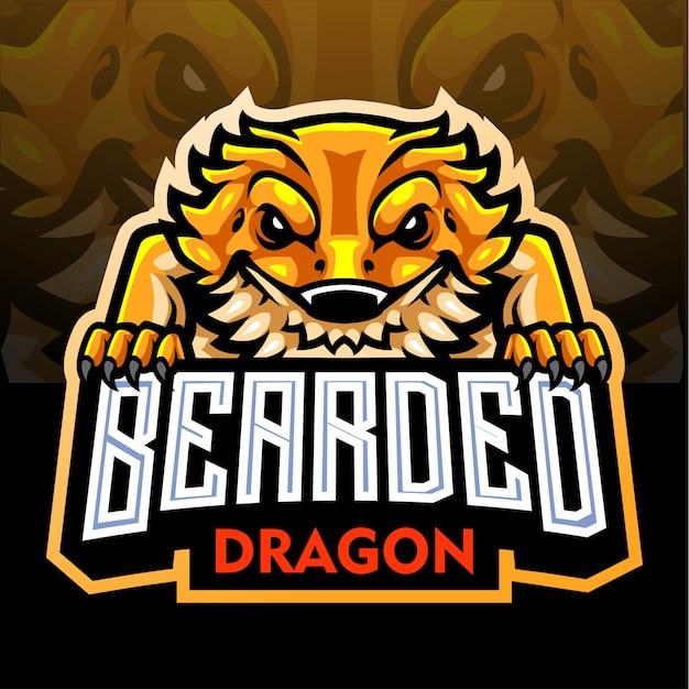 Бородатый талисман дракона. киберспорт логотип Premium векторы