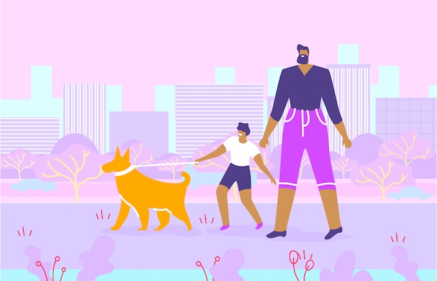 Bearded father and son walking with dog in park Premium Vector