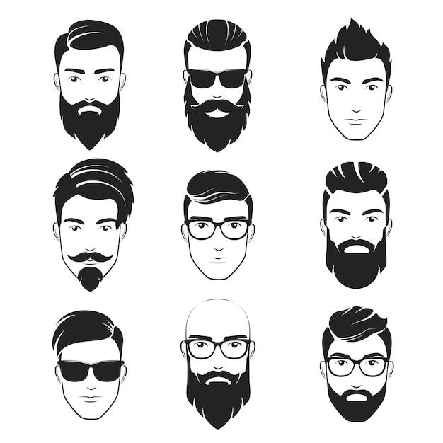 Bearded hipster faces logo set Premium Vector