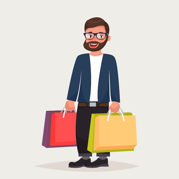 Bearded hipster man in glasses is shopping Premium Vector