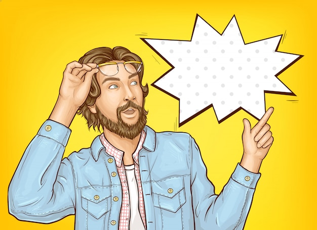 Bearded hipster man with wow face expression. Free Vector