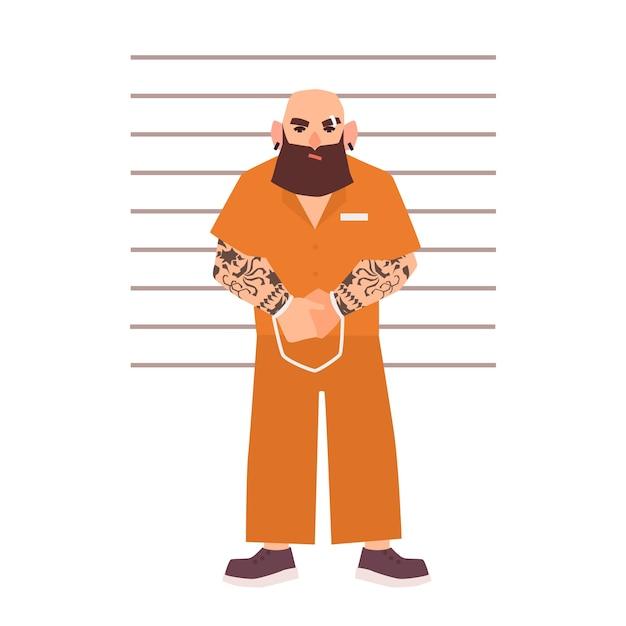立っていると警察署または刑務所でラインナップの壁にマグショットのポーズをとって手錠をかけたひげを生やした男性犯罪者 Premiumベクター