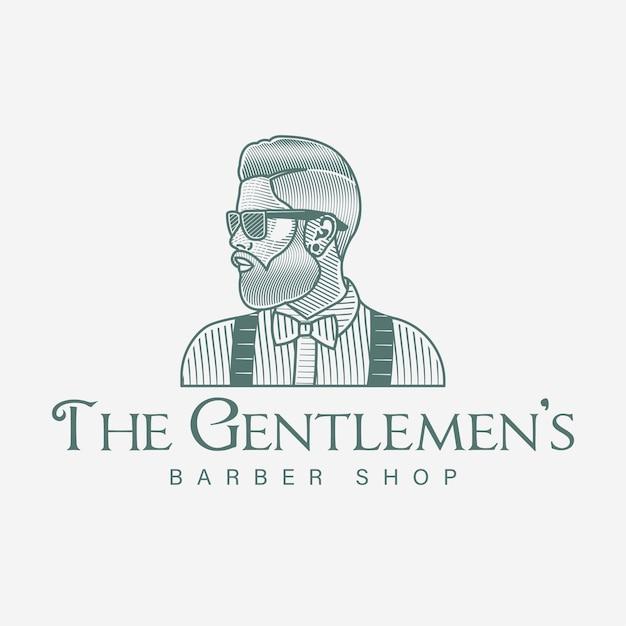 ひげを生やした男理髪店ロゴ手描き Premiumベクター