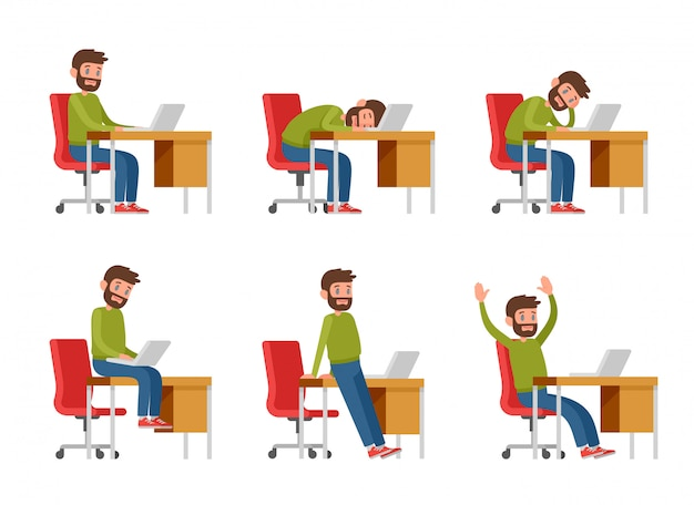 A bearded man in casual clothes is working on a laptop. the programmer, copywriter or freelancer sits at the desk. a man in the workplace sits, sleeps, bores, rejoices. Premium Vector