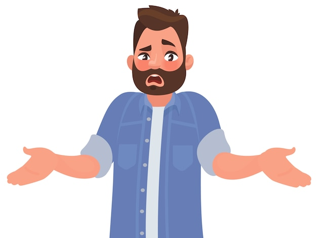 Bearded man emotionally spreads his hands. Premium Vector