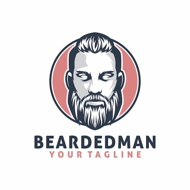 Bearded man logo template Premium Vector