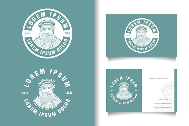 ひげを生やした男のビンテージロゴと名刺テンプレート Premiumベクター
