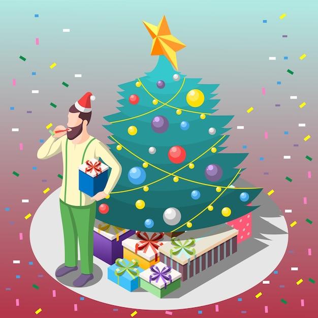Uomo barbuto con regali vicino alla composizione isometrica dell'albero di natale su sfondo sfumato con coriandoli Vettore gratuito