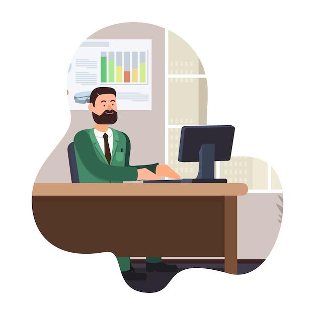 Bearded man work on computer. vector illustration. Premium Vector
