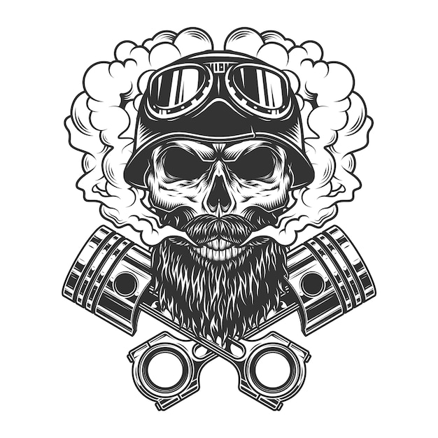 Bearded and mustached biker skull Free Vector