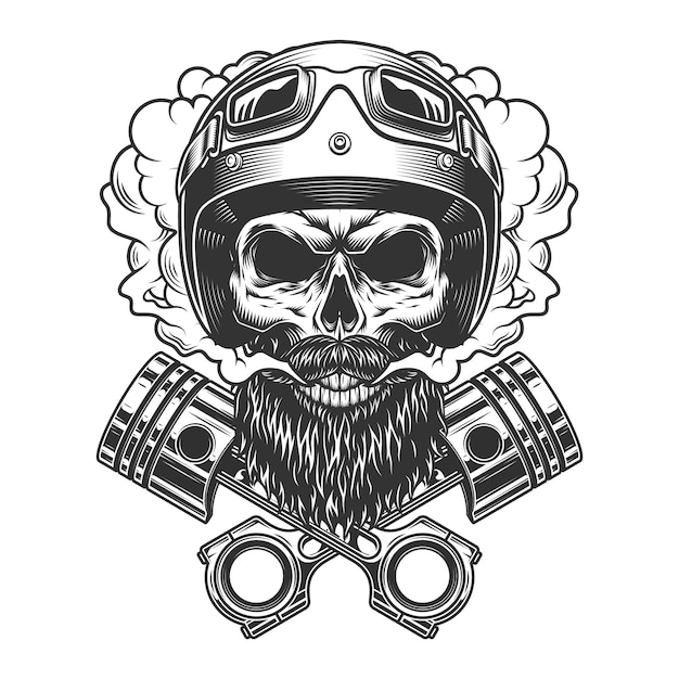Bearded and mustached motorcyclist skull Free Vector