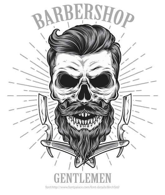 Bearded skull barbershop Premium Vector